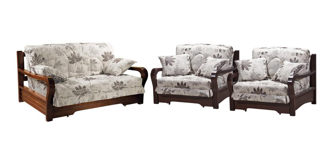Комплект мягкой мебели Женева с деревянными подлокотниками цена