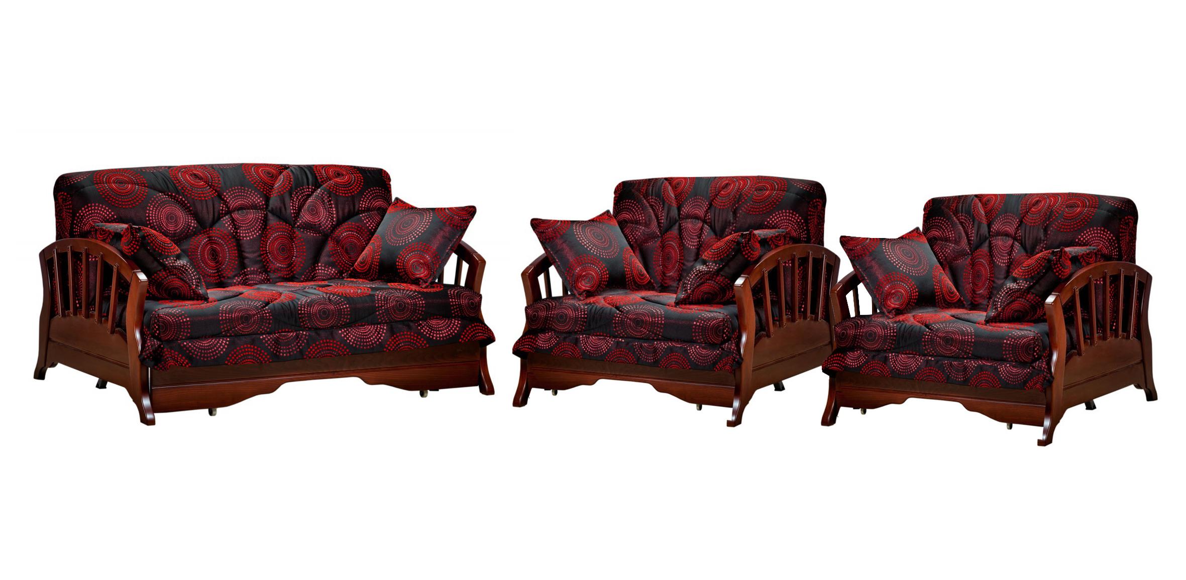 Комплект мягкой мебели Канопус с деревянными подлокотниками