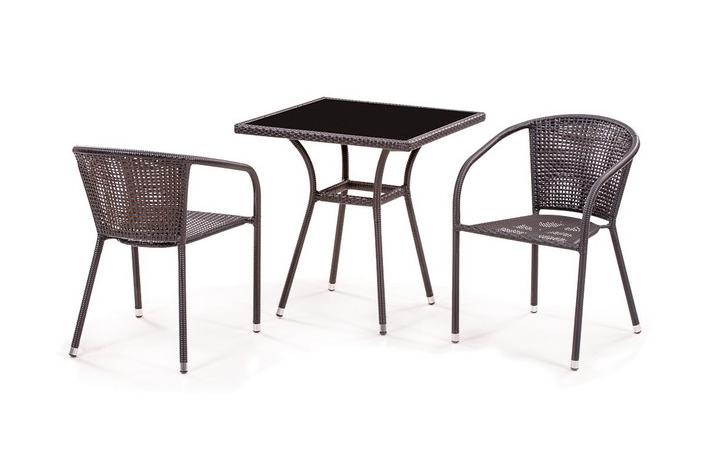 Комплект садовой мебели 2+1 T282BNS Y137B-W51 2PCSПлетеная мебель из искусственного ротанга<br><br><br>Артикул: T282BNS  Y137B-W51 2PCS<br>Материалы: Искусственный ротанг, стекло закаленное - 6 мм<br>Каркас: Сталь<br>Полный размер (ДхГхВ): Стол: 70х70х74; Кресло: 58х60х78<br>Вес товара (кг): 23,1; объем: 0,42 куба<br>Комплектация: 1 стол, 2 кресла<br>Цвет: Brown<br>Изготовление и доставка: 2-3 дня<br>Условия доставки: Бесплатная по Москве до подъезда<br>Условие оплаты: Оплата наличными при получении товара<br>Производство: Китай<br>Производитель: Афина Мебель