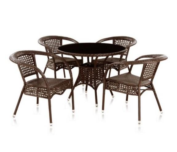 Комплект садовой мебели 4+1 Лион T220C Y-32Плетеная мебель из искусственного ротанга<br><br><br>Артикул: T220C Y-32<br>Материалы: Искусственный ротанг, стекло закаленное - 6 мм<br>Каркас: Сталь<br>Полный размер: Стол: 96 В74; кресло: 66x70 В77<br>Комплектация: 1 стол, 4 кресла<br>Цвет: Brown<br>Изготовление и доставка: 2-3 дня<br>Условия доставки: Бесплатная по Москве до подъезда<br>Условие оплаты: Оплата наличными при получении товара<br>Производство: Китай<br>Производитель: Афина Мебель