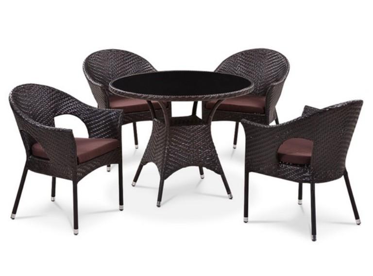 Комплект садовой мебели 4+1 T190B-1 Y-97BПлетеная мебель из искусственного ротанга<br><br><br>Артикул: T190B-1 Y-97B<br>Материалы: Искусственный ротанг, стекло закаленное - 6 мм<br>Каркас: Сталь<br>Полный размер: Стол: 96 В74; кресло: 62х60 В82<br>Комплектация: 1 стол, 4 кресла, подушки для сидения<br>Цвет: Brown<br>Изготовление и доставка: 2-3 дня<br>Условия доставки: Бесплатная по Москве до подъезда<br>Условие оплаты: Оплата наличными при получении товара<br>Производство: Китай<br>Производитель: Афина Мебель