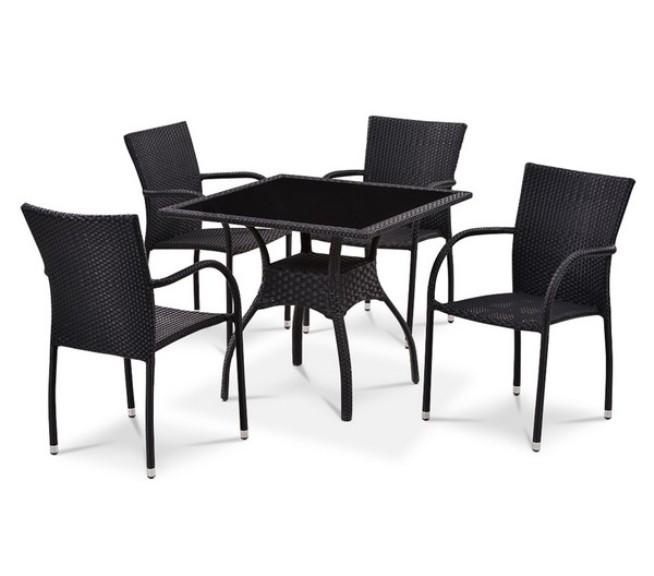 Комплект садовой мебели 4+1 T247A-2 Y-282AПлетеная мебель из искусственного ротанга<br><br><br>Артикул: T247A-2 Y-282A<br>Материалы: Искусственный ротанг, стекло закаленное - 6 мм<br>Каркас: Сталь<br>Полный размер: Стол: 87х87 В74; cтул: 53x60 В88<br>Комплектация: 1 стол, 4 стула<br>Цвет: Black<br>Изготовление и доставка: 2-3 дня<br>Условия доставки: Бесплатная по Москве до подъезда<br>Условие оплаты: Оплата наличными при получении товара<br>Производство: Китай<br>Производитель: Афина Мебель