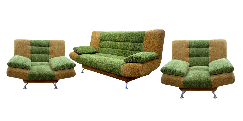Комплект мягкой мебели Лион-2 3+1+1Комплекты мягкой мебели<br>Размер: диван: 200х100 (сп.м. 130х200); кресло: 100х100<br><br>Механизм: Книжка<br>Материалы: Массив сосны, высокопрочная фанера<br>Каркас: Деревянный<br>Полный размер: 200х100<br>Спальное место: 130х200<br>Размер кресла: 105х105<br>Наполнитель: ППУ высокой плотности (Пенополиуретан)<br>Комплектация: Ящик для белья, декоративные подушки<br>Примечание: Стоимость указана по минимальной категории ткани<br>Изготовление и доставка: 8-10 дней<br>Условия доставки: Бесплатная по Москве до подъезда<br>Условие оплаты: Оплата наличными при получении товара<br>Доставка по МО (за пределами МКАД): 30 руб./км<br>Доставка в пределах ТТК: Доставка в центр Москвы осуществляется ночью, с 22.00 до 6.00 утра<br>Подъем на грузовом лифте: 1100 руб.<br>Подъем без лифта: 550 руб./этаж<br>Сборка: 600 руб.<br>Гарантия: 12 месяцев<br>Производство: Россия<br>Производитель: Утин