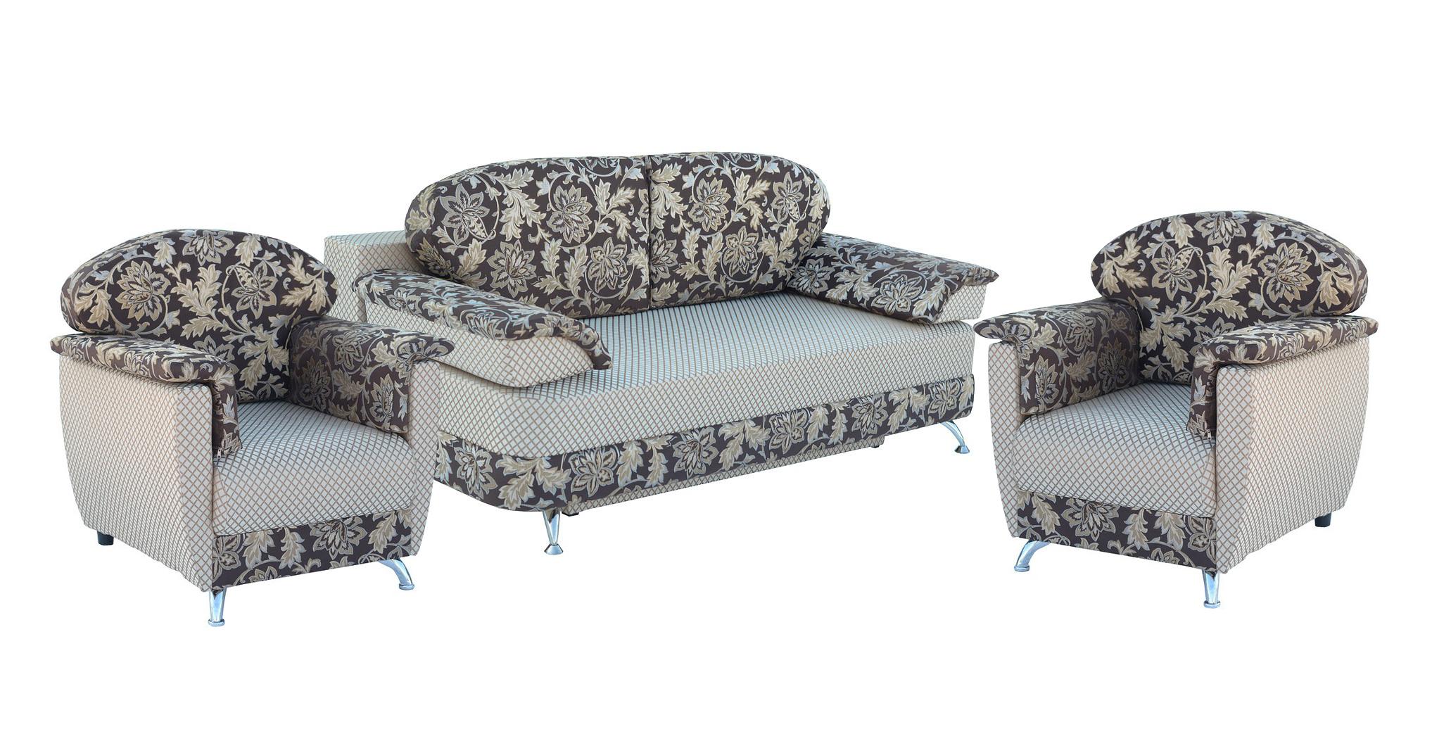Комплект мягкой мебели Лагуна 3+1+1Комплекты мягкой мебели<br>Размер: диван: 200х102 (сп. м. 146х200); кресло: 75х85<br><br>Механизм: Еврокнижка<br>Материалы: Массив сосны, высокопрочная фанера<br>Каркас: Деревянный<br>Полный размер (ДхГхВ): 200х102х95<br>Спальное место: 146х200х43<br>Размер кресла: 75х85<br>Наполнитель: Диван: Пружинный блок; Кресло: ППУ<br>Комплектация: Ящик для белья, декоративные подушки<br>Примечание: Стоимость указана по минимальной категории ткани<br>Изготовление и доставка: 8-10 дней<br>Условия доставки: Бесплатная по Москве до подъезда<br>Условие оплаты: Оплата наличными при получении товара<br>Доставка по МО (за пределами МКАД): 30 руб./км<br>Доставка в пределах ТТК: Доставка в центр Москвы осуществляется ночью, с 22.00 до 6.00 утра<br>Подъем на грузовом лифте: 1100 руб.<br>Подъем без лифта: 550 руб./этаж<br>Сборка: 600 руб.<br>Гарантия: 12 месяцев<br>Производство: Россия<br>Производитель: Утин