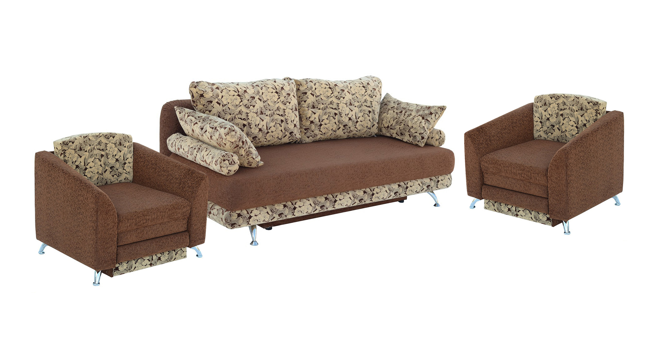 Комплект мягкой мебели Стрит 3+1+1 Утин Размер: диван: 210х110 (сп.м. 163х210); кресло: 90х100 (сп.м. 60х190)