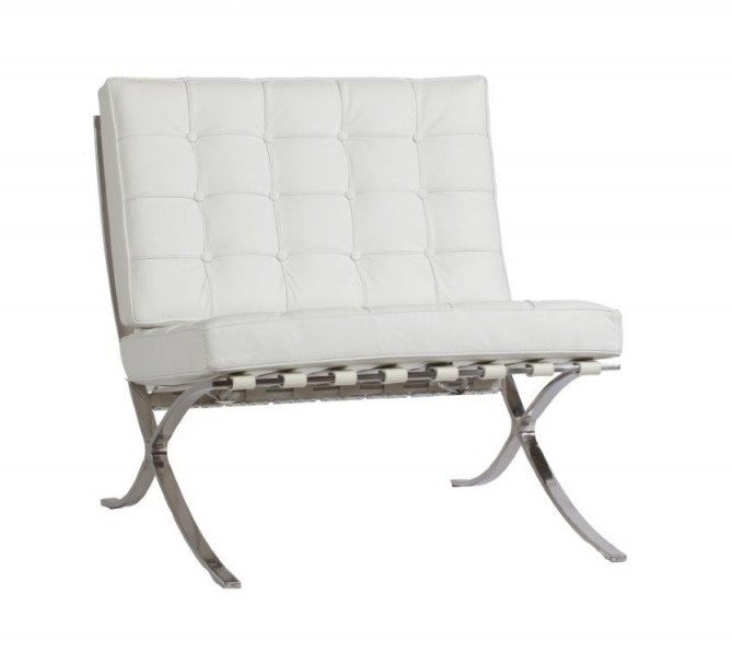 DG-HOME Кресло Barcelona Chair White Premium цена