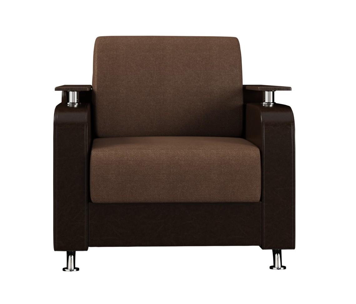 Кресло для отдыха МарракешКресла для отдыха<br>Размер: 93х91х78<br><br>Механизм: Нераскладной<br>Материалы: ЛДСП, ДСП, ДВП, мебельная фанера, строганный брус хвойных пород<br>Каркас: Деревянный<br>Полный размер (ДхГхВ): 93х91х92<br>Высота сиденья (см): 45<br>Наполнитель: ППУ высокой плотности (Пенополиуретан)<br>Вес товара (кг): 50<br>Комплектация: Формовая подушка<br>Вид ножек: Хромированные<br>Ткань: Образец по фото в ткани Шоколадный велюр + Paloma 1701 / Темно-коричневая иск.кожа<br>Изготовление и доставка: 5-7 дней<br>Условия доставки: Бесплатная по Москве до подъезда<br>Условие оплаты: Оплата наличными при получении товара<br>Доставка по МО (за пределами МКАД): 30 руб./км<br>Подъем на грузовом лифте: 400 руб.<br>Подъем без лифта: 200 руб./этаж, если только на первый этаж / занос в дом - 500 руб.<br>Гарантия: 18 месяцев<br>Производство: Россия<br>Производитель: ВудЭкспорт (Вереск)