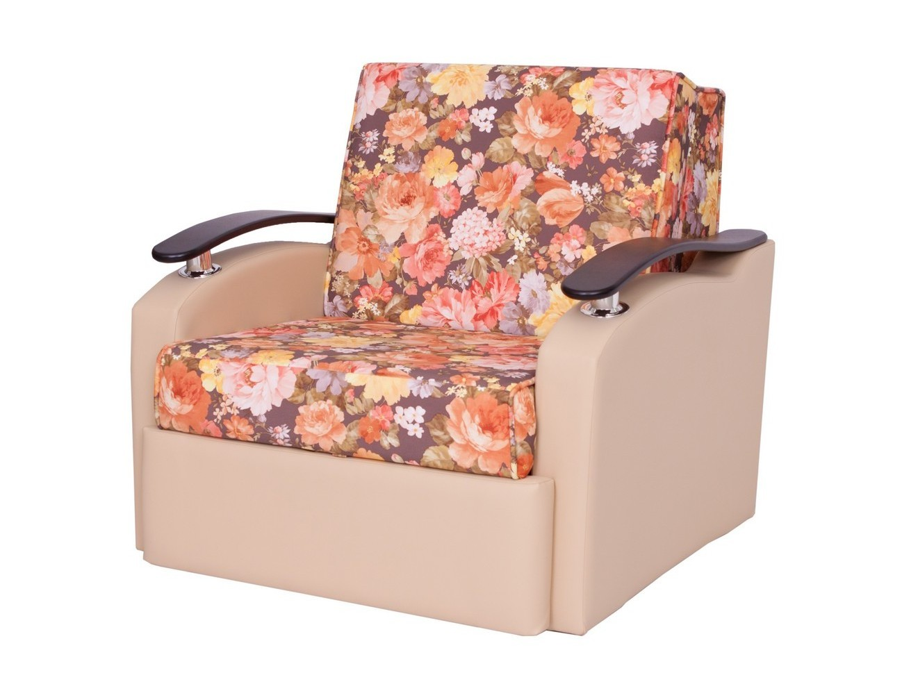 Кресло-кровать РондоКресло-кровати<br>Размер: 87х106х95 (сп. м. 62х193)<br><br>Механизм: Аккордеон<br>Каркас: Деревянный<br>Полный размер (ДхГхВ): 87х106х95<br>Спальное место: 62х193<br>Высота сиденья (см): 43<br>Глубина сиденья (см): 55<br>Наполнитель: ППУ высокой плотности (Пенополиуретан)<br>Комплектация: Ящик для белья<br>Цвет: Накладки: Бук / Венге<br>Ткань: Образец по фото представлен в ткани Sense Felicia Brown (Арбен-велюр) + Санторини (Андрия-иск. кожа), наличие и стоимость уточняйте у менеджера<br>Примечание: Стоимость указана по минимальной категории ткани<br>Изготовление и доставка: 6-10 дней, дни доставок среда и суббота<br>Условия доставки: Бесплатная по Москве до подъезда<br>Условие оплаты: Оплата наличными при получении товара<br>Доставка по МО (за пределами МКАД): 30 руб./км<br>Доставка в пределах ТТК: Доставка в центр Москвы осуществляется ночью, с 22.00 до 6.00 утра<br>Подъем на грузовом лифте: 300 руб.<br>Подъем без лифта: 150 руб./этаж<br>Сборка: 200 руб. в день доставки, заказать сборку Вы можете, если у Вас оформлена услуга подъем/занос изделия в помещение<br>Гарантия: 12 месяцев<br>Производство: Россия<br>Производитель: МДВ