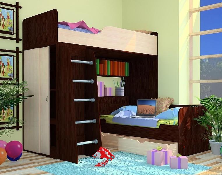Кровать-чердак с нижней кроватью Орбита-9