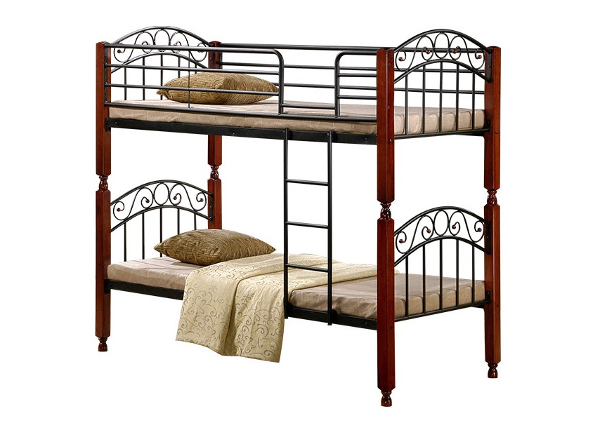 Двухъярусная кровать АТ-9126Кровати<br>Размер: 900х2015 В1800 (сп. м. 90х200)<br><br>Материалы: Массив дерева<br>Каркас: Металлический<br>Полный размер: 900х2015 В1800<br>Спальное место: 90х200<br>Вес товара (кг): 55<br>Комплектация: Основание кровати: металлическая решетка с деревянными ламелями<br>Цвет: Дерево: красный Дуб; Металл: черный<br>Примечание: Доставляется в разобранном виде<br>Изготовление и доставка: 3-5 дней<br>Условия доставки: Бесплатная по Москве до подъезда<br>Условие оплаты: Оплата наличными при получении товара<br>Подъем на грузовом лифте: 4% от стоимости изделия<br>Подъем без лифта: 2% от стоимости изделия за 1 этаж<br>Сборка: 1000 руб., выезд сборщика за МКАД+500 руб.<br>Гарантия: 18 месяцев<br>Производство: Малайзия
