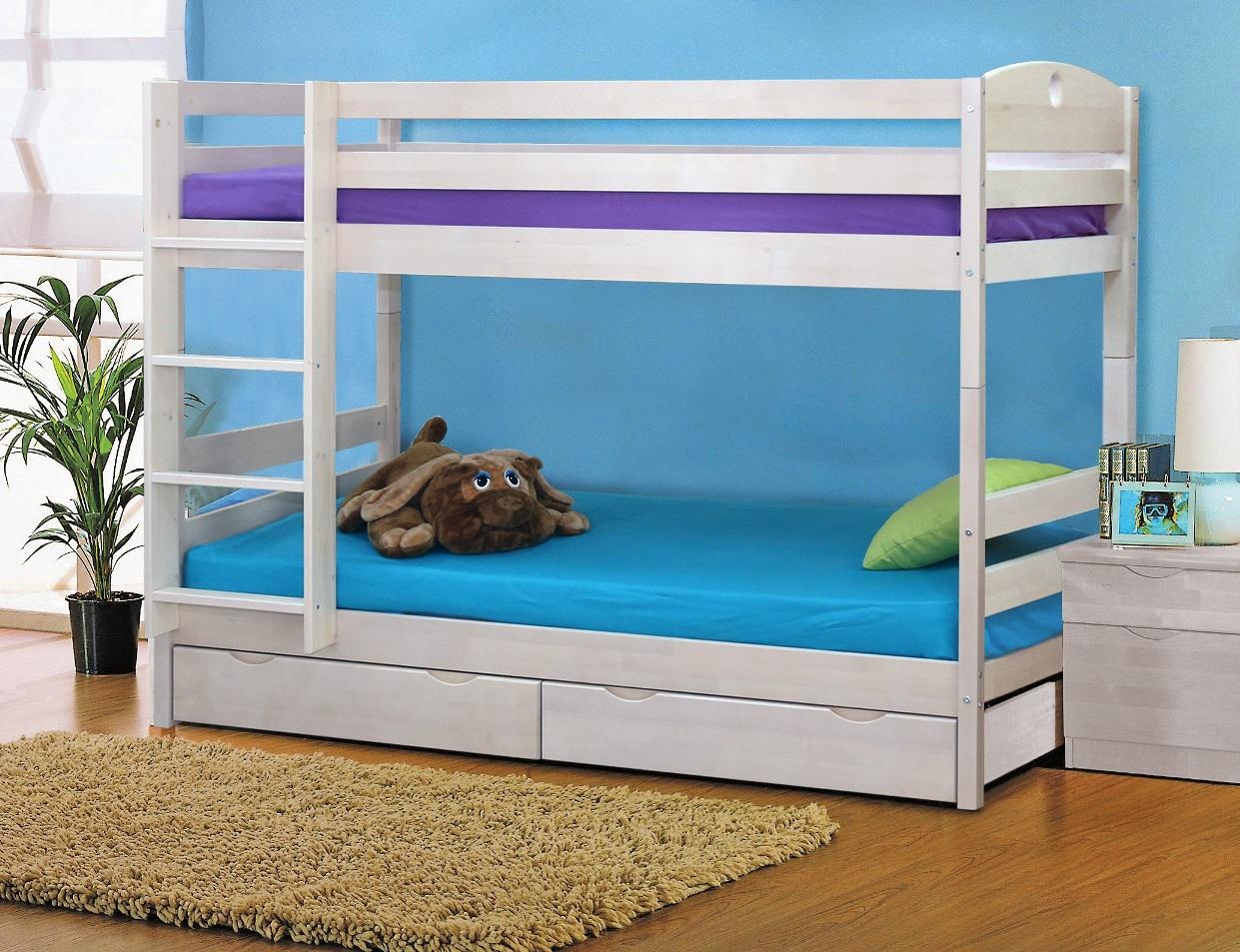 Кровать двухъярусная Массив с ящиками кровать двухъярусная с лестницей с ящиками прованс