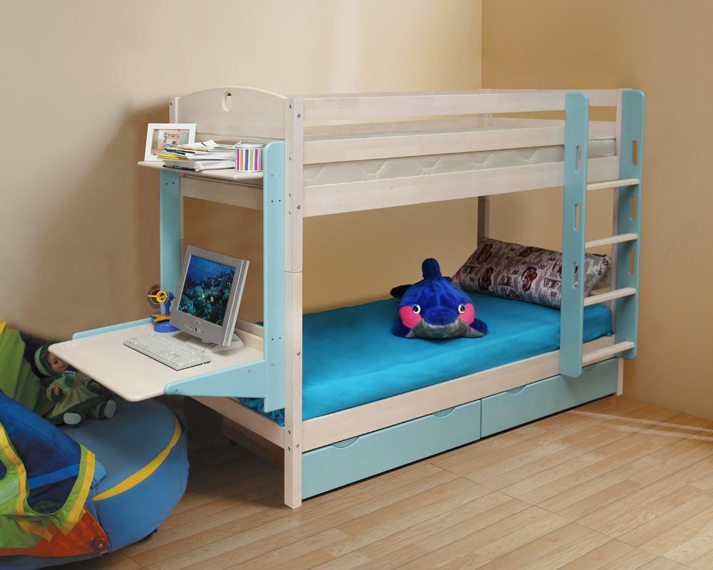 Кровать двухъярусная Массив с ящиками New кровать двухъярусная с лестницей с ящиками прованс