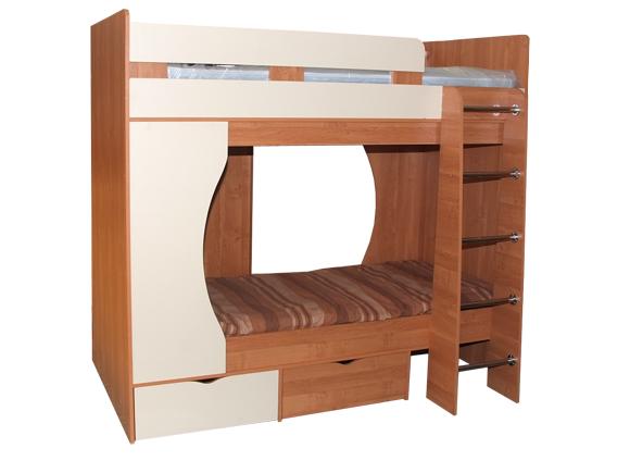 Кровать двухъярусная МалышДетские кровати<br>Размер: 1900х1750х867/800<br><br>Материалы: ЛДСП, кромка ПВХ<br>Полный размер (ДхВхГ): 1900х1750х867/800<br>Спальное место: 800х1900<br>Комплектация: Матрас в стоимость не входит<br>Цвет: Ольха/Ваниль<br>Изготовление и доставка: 15-20 дней<br>Условия доставки: Бесплатная по Москве до подъезда<br>Условие оплаты: Оплата наличными при получении товара<br>Доставка по МО (за пределами МКАД): 35 руб./км., за пределы трассы А-107 (ММК) +500 руб.<br>Доставка в пределах ТТК: +1000 руб., строго до 7 утра<br>Подъем на грузовом лифте: 5% от стоимости изделия<br>Подъем без лифта: 2,5% от стоимости изделия за 1 этаж<br>Сборка: 10% от стоимости изделия, до 30 км (за исключением близлежащих районов Москвы - Южное Бутово, Митино и т.п.) + 500 руб. дополнительно к стоимости сборки<br>Гарантия: 18 месяцев<br>Производство: Россия<br>Производитель: М-СТИЛЬ