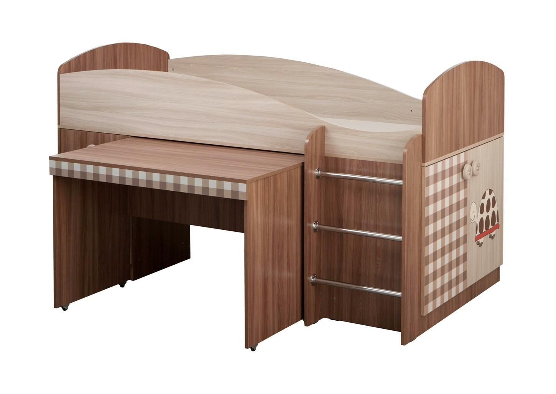 Кровать с выдвижным столом Алиса комбиДетские кровати<br>Размер: 2042х1170х1095<br><br>Материалы: ЛДСП, кромка ПВХ<br>Полный размер (ДхГхВ): 204,2х117х109,5<br>Спальное место: 90х200<br>Вес товара (кг): 135<br>Цвет: Ясень шимо светлый+темный<br>Примечание: Матрас в стоимость не входит<br>Изготовление и доставка: 10-14 дней<br>Количество упаковок: 3 шт<br>Условия доставки: Бесплатная по Москве до подъезда<br>Условие оплаты: Оплата наличными при получении товара<br>Доставка по МО (за пределами МКАД): 30 руб./км<br>Доставка в пределах ТТК: Доставка в центр Москвы осуществляется ночью, с 22.00 до 6.00 утра<br>Подъем на грузовом лифте: 700 руб.<br>Подъем без лифта: 350 руб./этаж, включая первый<br>Сборка: 10% от стоимости изделия<br>Гарантия: 12 месяцев<br>Производство: Россия, г.Дзержинск<br>Производитель: МК Премиум