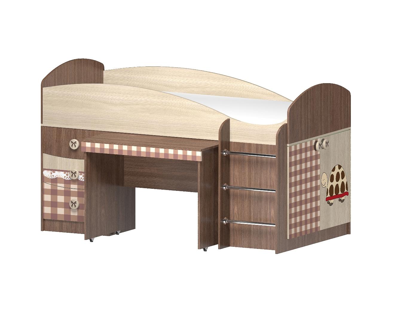 Кровать с выдвижным столом Алиса комби