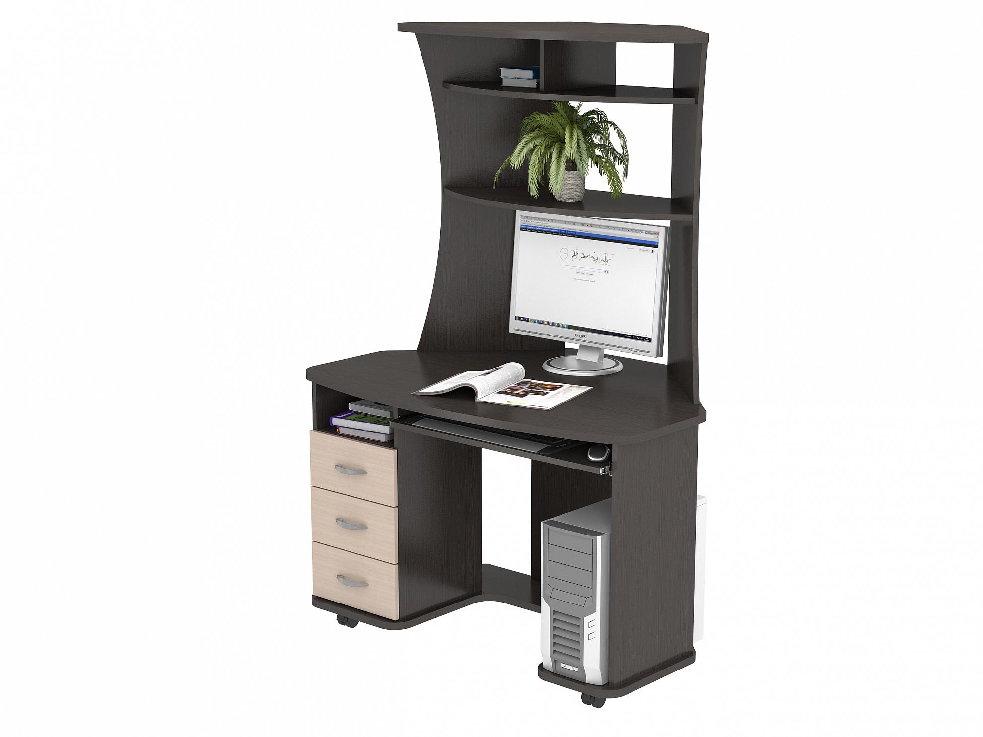 Компьютерный стол КС 20-26Компьютерные столы<br>размер: 1200х843 В1754<br><br>Материалы: ЛДСП, кромка ПВХ<br>Полный размер (ДхГхВ): 1200х843х1754<br>Габарит монитора: 55х45 (диагональ от 15 до 24)<br>Вес товара (кг): 77<br>Цвет: Венге/Дуб Молочный, Дуб Сонома, Орех Валенсия<br>Примечание: Доставляется в разобранном виде<br>Изготовление и доставка: 2-3 дня<br>Условия доставки: Бесплатная по Москве до подъезда<br>Условие оплаты: Оплата наличными при получении товара<br>Доставка по МО (за пределами МКАД): 30 руб./км<br>Подъем на лифте: 300 руб.<br>Гарантия: 12 месяцев<br>Производство: Россия, г. Москва<br>Производитель: ВасКо (Дик)