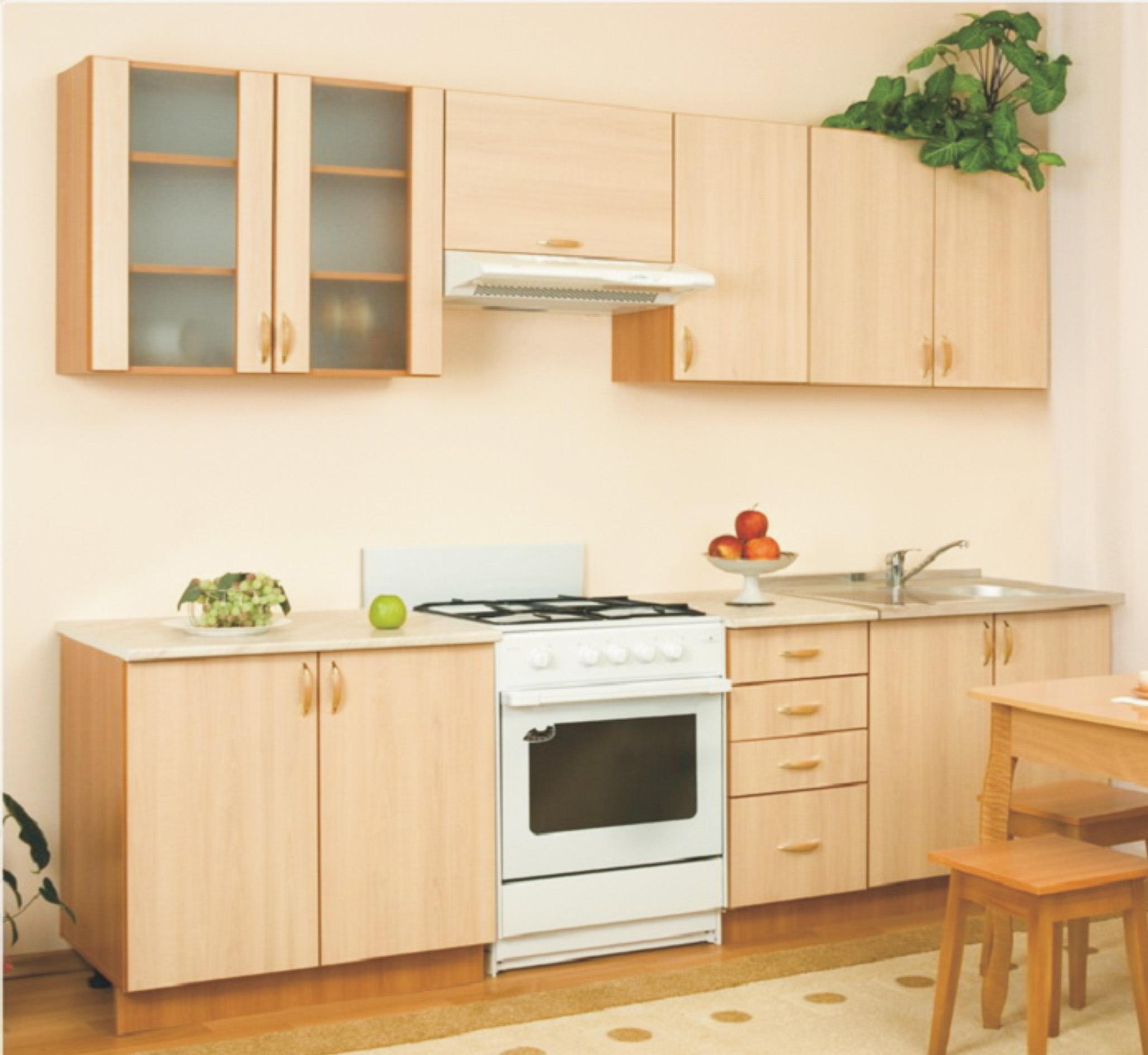Модульная кухня АлесяКухонные гарнитуры<br>Размер: 2600<br><br>Материалы: Корпус ЛДСП 16 мм, стекло рифленое, фасады МДФ, облицованные пленкой, ящики - метабоксы, регулируемые опоры<br>Полный размер: 2600<br>Вес товара (кг): 160<br>Комплектация: Кухня отдельно комплектуются столешницей и стеновой панелью, столешница постформинг 28 мм. В стоимость кухонь столешница и мойка не входят!<br>Цвет: Клен<br>Примечание: Доставляется в разобранном виде<br>Изготовление и доставка: 2-3 дня<br>Условия доставки: Бесплатная по Москве до подъезда<br>Условие оплаты: Оплата наличными при получении товара<br>Подъем на грузовом лифте: 700 руб.<br>Подъем без лифта: 350 руб./этаж (включая первый)<br>Гарантия: 12 месяцев<br>Производство: Россия