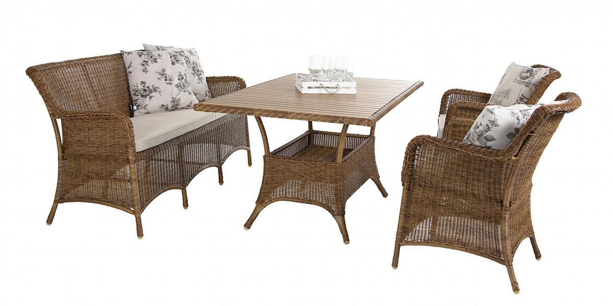 Комплект плетеной мебели Lilly naturПлетеная мебель из искусственного ротанга<br>Размер: Диван: 169х44 В83; Стол: 150x90 В73,5; Кресло: 59х83 В44<br><br>Артикул: Диван 2133-7, стол 2136, кресло 2131-7<br>Материалы: Искусственный ротанг, столешница-искусственное дерево<br>Каркас: Алюминиевый<br>Полный размер: Диван: 169х44 В83; Стол: 150x90 В73,5; Кресло: 59х83 В44<br>Комплектация: Диван, стол, кресло 2 шт<br>Цвет: Натуральный<br>Примечание: Подушки в стоимость не входят!<br>Изготовление и доставка: 2-3 дня<br>Условия доставки: Бесплатная по Москве до подъезда<br>Условие оплаты: Оплата наличными при получении товара<br>Гарантия: 12 месяцев<br>Производство: Швеция<br>Производитель: Brafab
