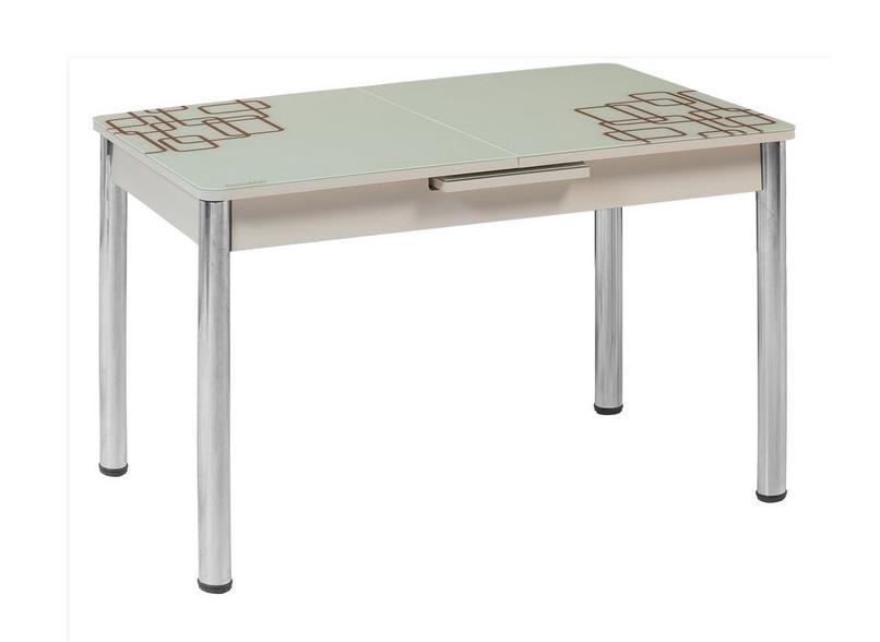 Стол обеденный М15Обеденные столы<br>Размер: 120/150х80 В75<br><br>Механизм: Раскладной<br>Материалы: Хромированный каркас, столешница - закаленное стекло с узором<br>Полный размер: 120/150х80 В75<br>Вес товара (кг): 36,7 кг<br>Цвет: Белый, крем, черный<br>Изготовление и доставка: 2-3 дня<br>Условия доставки: Бесплатная по Москве до подъезда<br>Условие оплаты: Оплата наличными при получении товара<br>Подъем на лифте: 500 руб<br>Гарантия: 12 месяцев<br>Производство: Турция