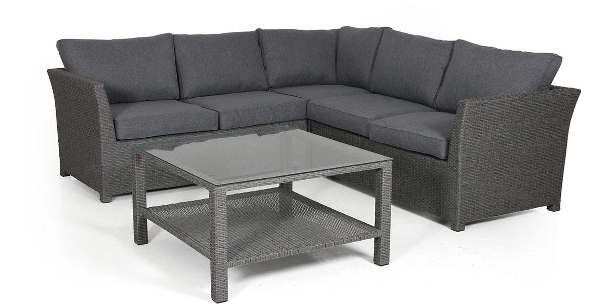 Комплект плетеной мебели Madison-1 greyПлетеная мебель из искусственного ротанга<br>Размер: Модуль угловой: 80х80 В69; Комплект модулей окончаний: 145х80 В69; Столик: 86х86 В50<br><br>Артикул: Модуль угловой 2415-72-71, комплект модулей окончаний 2415hv-72-71, столик 2410-72<br>Материалы: Искусственный ротанг, высокопрочное стекло<br>Каркас: Алюминиевый<br>Полный размер: Модуль угловой: 80х80 В69; Комплект модулей окончаний: 145х80 В69; Столик: 86х86 В50<br>Наполнитель: ППУ высокой плотности (Пенополиуретан)<br>Комплектация: Модуль угловой, комплект модулей окончаний, столик, подушки<br>Цвет: Ротанг-серая, Ткань-серая<br>Изготовление и доставка: 2-3 дня<br>Условия доставки: Бесплатная по Москве до подъезда<br>Условие оплаты: Оплата наличными при получении товара<br>Гарантия: 12 месяцев<br>Производство: Швеция<br>Производитель: Brafab