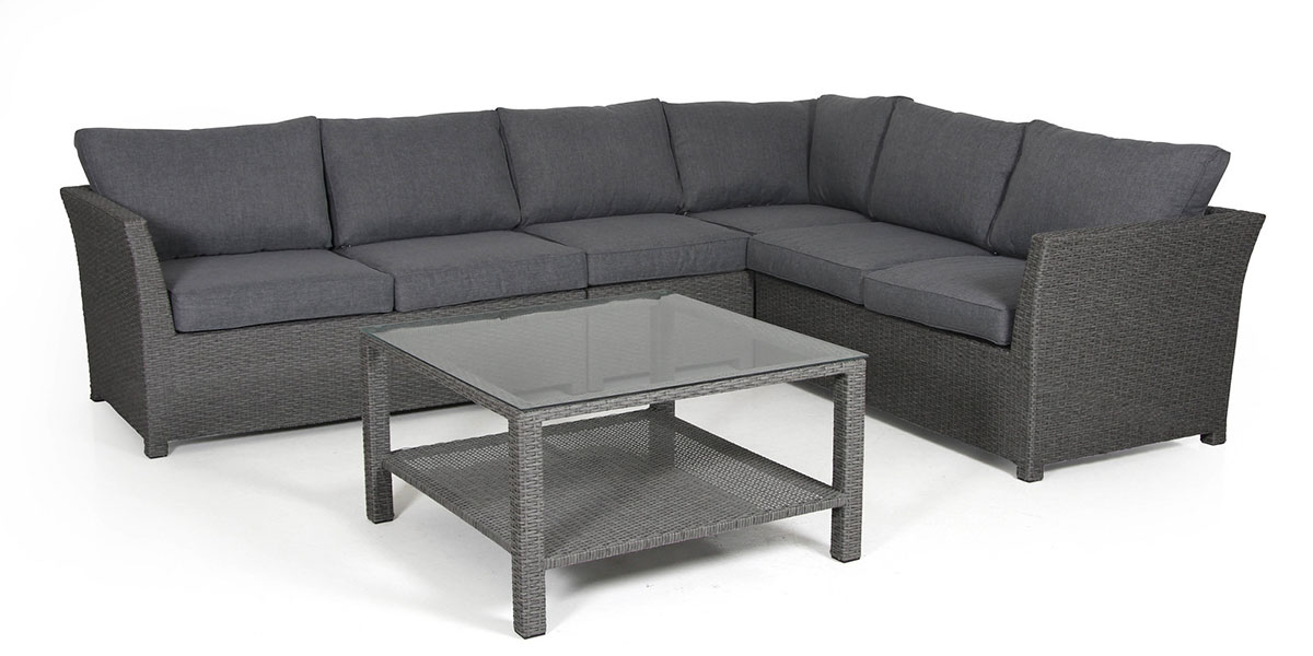 Комплект плетеной мебели Madison-2 greyПлетеная мебель из искусственного ротанга<br>Размер: Модуль угловой: 80х80 В69; Модуль центральный: 65х80 В69; Комплект модулей окончаний: 145х80 В69; Столик: 86х86 В50<br><br>Артикул: Модуль угловой 2415-72-71,модуль центральны 2414-72-71, комплект модулей окончаний 2415hv-72-71, столик 2410-72<br>Материалы: Искусственный ротанг, высокопрочное стекло<br>Каркас: Алюминиевый<br>Полный размер: Модуль угловой: 80х80 В69; Модуль центральный: 65х80 В69 Комплект модулей окончаний: 145х80 В69; Столик: 86х86 В50<br>Наполнитель: ППУ высокой плотности (Пенополиуретан)<br>Комплектация: Модуль угловой, модуль центральный, комплект модулей окончаний, столик, подушки<br>Цвет: Ротанг-серая, Ткань-серая<br>Изготовление и доставка: 2-3 дня<br>Условия доставки: Бесплатная по Москве до подъезда<br>Условие оплаты: Оплата наличными при получении товара<br>Гарантия: 12 месяцев<br>Производство: Швеция<br>Производитель: Brafab