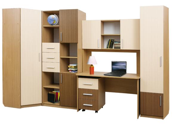 Детская стенка МартиДетские комнаты<br>Комплектация:<br>Стол с надстройкой модуль №3 (1200х1850x600)<br>Шкаф для белья модуль №2 (430х2050x430)<br>Тумба выкатная модуль №4 (400х680x450)<br>Шкаф для книг модуль №1(800х2050x430)<br>Шкаф угловой модуль №6(719х2050x420)<br><br>Материалы: ЛДСП, кромка ПВХ<br>Цвет: Корпус: Ольха, Фасад: Лен темный + Лен светлый<br>Примечание: Возможно приобрести по предметно, стоимость уточняйте у менеджера<br>Изготовление и доставка: 15-20 дней<br>Условия доставки: Бесплатная по Москве до подъезда<br>Условие оплаты: Оплата наличными при получении товара<br>Подъем на грузовом лифте: 5% от стоимости<br>Подъем без лифта: 2,5% от стоимости<br>Сборка: 10% от стоимости изделия. Выезд сборщика за МКАД +500 руб.<br>Гарантия: 18 месяцев<br>Производство: Россия<br>Производитель: М-СТИЛЬ
