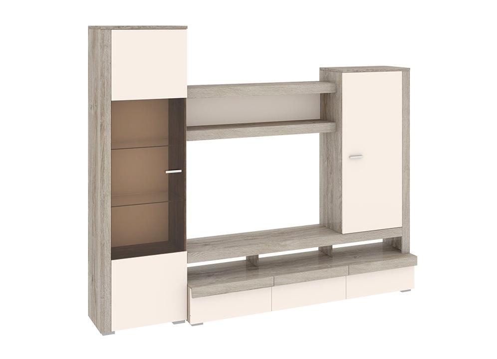 Набор мебели для гостиной ЭйваСтенки<br>Размер: 2392х2014х466<br><br>Артикул: ТД-195.01<br>Материалы: Каркас ЛДСП; фасад ЛДСП, эмаль, стекло; ручки - металл<br>Полный размер (ДхВхГ): 2392х2014х466<br>Ниша под ТВ: 1207х747х370<br>Вес товара (кг): 137<br>Цвет: Бежевый/светло-коричневый<br>Примечание: Доставляется в разобранном виде<br>Изготовление и доставка: Склад до 5 дней, под заказ 2-3 недели<br>Условия доставки: Бесплатная по Москве до подъезда<br>Условие оплаты: Оплата наличными при получении товара<br>Доставка по МО (за пределами МКАД): 35 руб./км. Доставка за МКАД, за пределы трассы А-107 (ММК)<br>Доставка в пределах ТТК: +1000 руб. Доставка в центр Москвы осуществляется ночью, с 22.00 до 7.00 утра<br>Подъем на грузовом лифте: 4% от стоимости изделия<br>Подъем без лифта: 2% от стоимости изделия за 1 этаж<br>Сборка: 10% от стоимости изделия. Выезд сборщика за МКАД +500 руб.<br>Гарантия: 18 месяцев<br>Производство: Россия<br>Производитель: ТриЯ
