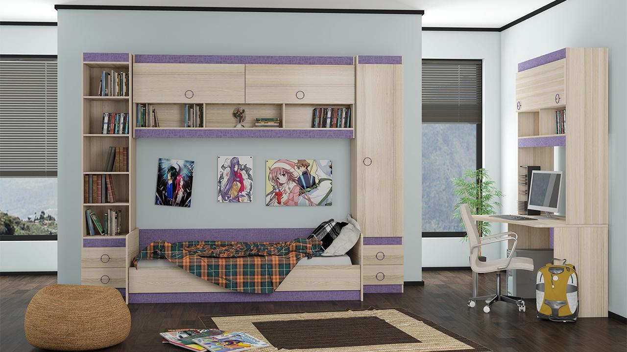 Детская модульная комната Индиго №17 капитан детская и взрослая модульная мебель мдф