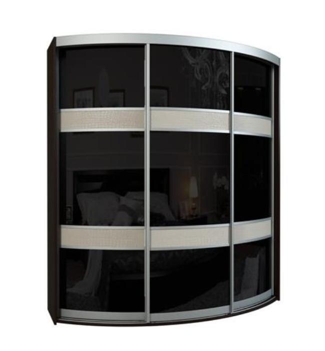 Радиусный шкаф-купе Севилья 3-4Шкафы-купе<br>Размер: 1996х2200х456-816<br><br>Материалы: ЛДСП (16 мм) высшей категории от производителя Kronospan, кромка ABS<br>Материал фасада: Пластик черный глянцевый, мебельная кожа<br>Размер ДхВхГ: 1996х2200х456-816<br>Возможные размеры: Длина 1960 мм, высота 2200-2400 мм, глубина 450/820-600/970 мм<br>Наполнение шкафа: Белье+Платье+Белье<br>Система направляющих: Используется система специального алюминиевого радиусного профиля<br>Примечание: Доставляется в разобранном виде<br>Изготовление и доставка: 8-15 дней<br>Условия доставки: Бесплатная по Москве до подъезда<br>Условие оплаты: Оплата наличными при получении товара<br>Подъем на грузовом лифте: 700 руб.<br>Подъем без лифта: 400 руб./этаж, если только на первый этаж / занос в дом - 500 руб.<br>Сборка: 10% от стоимости изделия, при сложной сборке (ниша, зазор до стены/потолка менее 10 см) 15% от стоимости изделия, осуществляется в течение 1-2 дней после доставки. Выезд сборщика за МКАД 30 руб./км<br>Гарантия: 18 месяцев<br>Производство: Россия<br>Производитель: Вереск