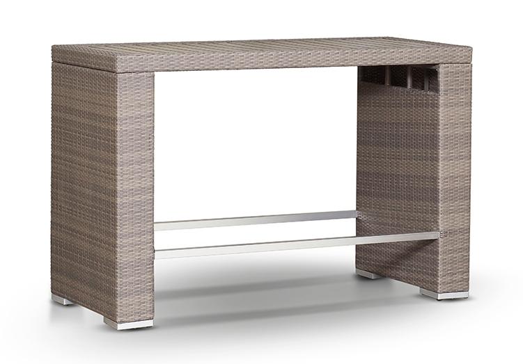 Барный стол СтрезаПлетеная мебель из искусственного ротанга<br>Размер: 160х70 В107<br><br>Артикул: 656292<br>Материалы: Искусственный ротанг, массив тика<br>Каркас: Алюминий<br>Полный размер (ДхГхВ): 160х70 В107<br>Цвет: Серо-коричневый<br>Изготовление и доставка: 2-3 дня<br>Условия доставки: Бесплатная по Москве до подъезда<br>Условие оплаты: Оплата наличными при получении товара<br>Производство: Китай<br>Производитель: 4sis