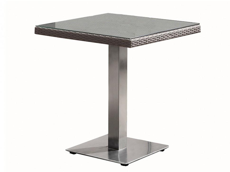 Стол из ротанга КампанияПлетеная мебель из искусственного ротанга<br>Размер: 70х70 В75<br><br>Артикул: 805273<br>Материалы: Искусственный ротанг, стекло закаленное - 5 мм<br>Каркас: Алюминий<br>Полный размер (ДхГхВ): 70х70 В75<br>Цвет: Серо-коричневый<br>Изготовление и доставка: 2-3 дня<br>Условия доставки: Бесплатная по Москве до подъезда<br>Условие оплаты: Оплата наличными при получении товара<br>Производство: Китай<br>Производитель: 4sis