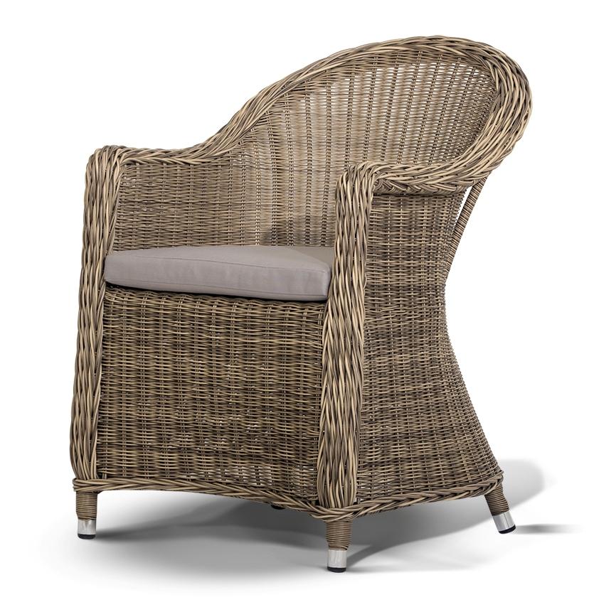 Плетеное кресло РавеннаПлетеная мебель из искусственного ротанга<br>Размер: 61х70 В86<br><br>Артикул: 858117<br>Материалы: Искусственный ротанг<br>Каркас: Алюминий<br>Полный размер (ДхГхВ): 61х70 В86<br>Комплектация: Кресло, подушка со съемным чехлом молочного цвета<br>Цвет: Светло-коричневый<br>Изготовление и доставка: 2-3 дня<br>Условия доставки: Бесплатная по Москве до подъезда<br>Условие оплаты: Оплата наличными при получении товара<br>Производство: Китай<br>Производитель: 4sis