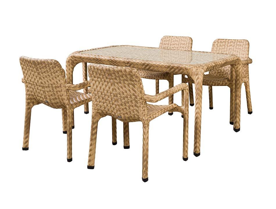 Комплект мебели ТуринПлетеная мебель из искусственного ротанга<br>Размер: Стол: 150х90 В76, стул: 65х65 В85<br><br>Материалы: Искусственный ротанг, стекло закаленное - 8 мм<br>Каркас: Алюминий<br>Полный размер (ДхГхВ): Стол: 150х90 В76, стул: 65х65 В85<br>Комплектация: Стол, стул - 4 шт<br>Цвет: Светло-коричневый<br>Изготовление и доставка: 2-3 дня<br>Условия доставки: Бесплатная по Москве до подъезда<br>Условие оплаты: Оплата наличными при получении товара<br>Производство: Китай<br>Производитель: 4sis