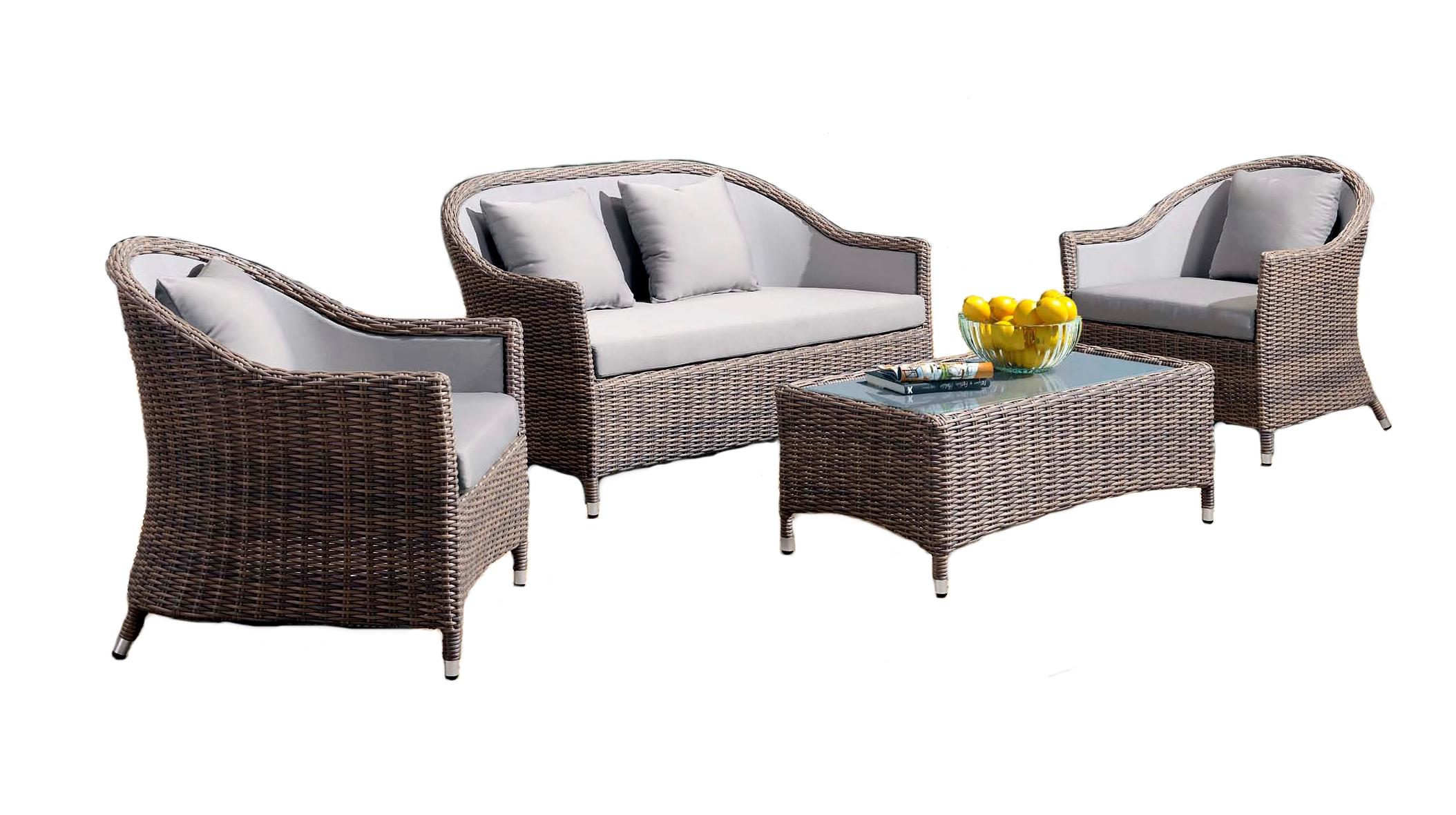 Лаунж зона ОрвиеттоПлетеная мебель из искусственного ротанга<br>Диван: 134х78 В81, кресло: 72х78 В81, стол: 101х52 В40<br><br>Материалы: Искусственный ротанг, стекло закаленное - 5 мм<br>Каркас: Алюминий<br>Полный размер (ДхГхВ): Диван: 134х78 В81, кресло: 72х78 В81, стол: 101х52 В40<br>Цвет: Серо-коричневый<br>Изготовление и доставка: 2-3 дня<br>Условия доставки: Бесплатная по Москве до подъезда<br>Условие оплаты: Оплата наличными при получении товара<br>Производство: Китай<br>Производитель: 4sis