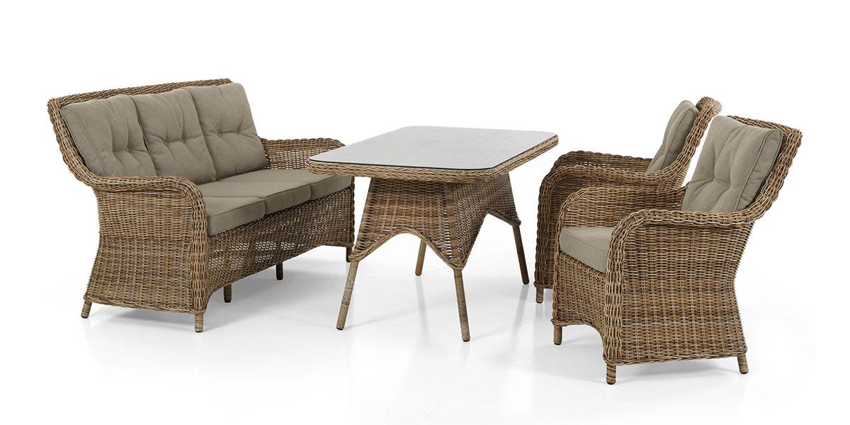 Комплект плетеной мебели ModestoПлетеная мебель из искусственного ротанга<br>Размер: Диван: 162х83 В93; Кресло: 60х83 В93; Стол: 150х80 В73<br><br>Артикул: Диван 5523-62-23, кресло 5521-62-23, стол 5526-62<br>Материалы: Искусственный ротанг, высокопрочное стекло<br>Каркас: Алюминиевый<br>Полный размер: Диван: 162х83 В93; Кресло: 60х83 В93; Стол: 150х80 В73<br>Наполнитель: ППУ высокой плотности (Пенополиуретан)<br>Комплектация: Диван, кресло 2 шт., стол, подушки<br>Цвет: Ротанг-коричневый, Ткань-бежевая<br>Изготовление и доставка: 2-3 дня<br>Условия доставки: Бесплатная по Москве до подъезда<br>Условие оплаты: Оплата наличными при получении товара<br>Гарантия: 12 месяцев<br>Производство: Швеция<br>Производитель: Brafab