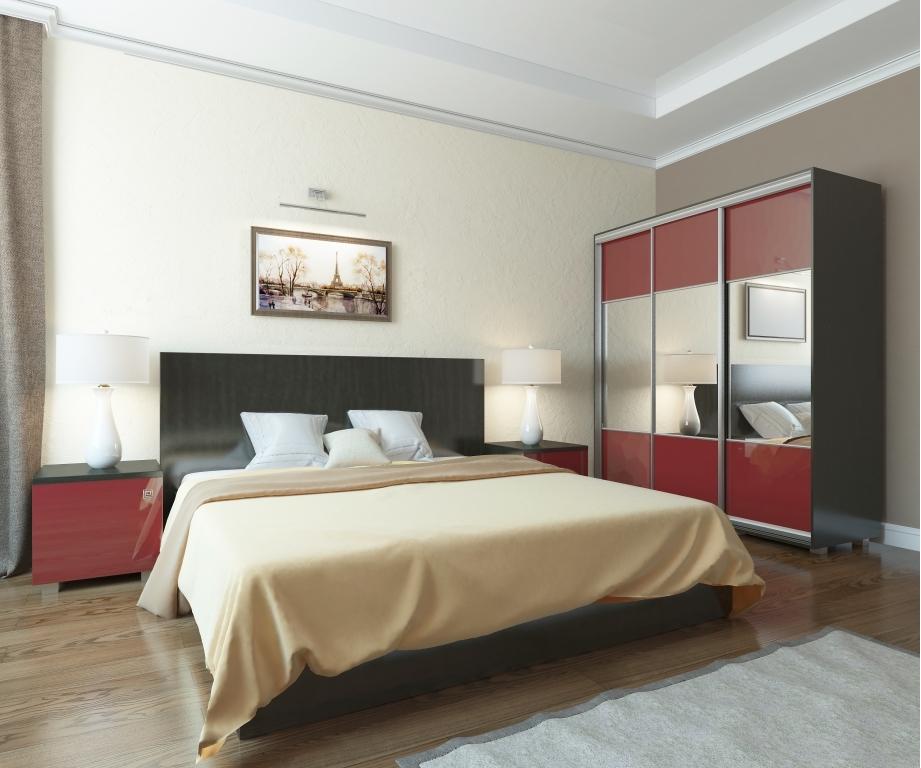 Модульная спальня Аврора-3Спальни<br>Модульная спальня Аврора-3 &amp;ndash; прекрасный выбор для предпочитающих элегантную обстановку. Гарнитур отличается современным дизайном и продуманным наполнением. Фасадная часть выполнена из МДФ с глянцевой пленкой ПВХ, гармонирующей с металлическими ручками оригинального дизайна.<br>Характеристики:<br>Металлические оригинальные ручки - цвета атласный никель.&amp;nbsp;Петли 90 град. с доводчиком.&amp;nbsp;Верхние топы изготовлены из ЛДСП 32 мм с кромкой 2мм ПВХ.&amp;nbsp;Для фасадов используется МДФ 16 мм под глянцевой пленкой ПВХ. Для ящиков применяются шариковые направляющие 100% выдвижения.<br>В конструкции кроватей используется ортопедическое основание из прочного металлического профиля и березовых лат.&amp;nbsp;Для изголовья кровати используется лист ЛДСП толщиной 32 мм с кромкой 2 мм ПВХ<br>Комплектация (можно приобрести по предметно): ДхГхВ<br>Кровать 1200 арт. КР.001.1200-02: 1350х2052х1000 без матраса<br>Тумба прикроватная 2 шт арт. Т.003.500-02: 500х520х480<br>Шкаф-купе 3-х дверный с зеркалом арт. ШК.003.1700-08/09: 1700х624х2000<br>Дополнительно можно приобрести&amp;nbsp;матрас для кровати&amp;gt;&amp;gt;<br>Модульная спальня Аврора в другой комплектации&amp;gt;&amp;gt;&amp;nbsp;<br><br>Материалы: ЛДСП 16 мм, кромка ПВХ 0.4 мм., задняя стенка ДВПО серого цвета<br>Комплектация: Матрас в стоимость не входит.<br>Вид ножек: Регулируемые опоры цвета хром матовый-допустимая нагрузка на пару 200 кг<br>Примечание: Доставляется в разобранном виде<br>Изготовление и доставка: 8-10 дней<br>Условия доставки: Бесплатная по Москве до подъезда<br>Условие оплаты: Оплата наличными при получении товара<br>Доставка по МО (за пределами МКАД): 30 руб./км<br>Доставка в пределах ТТК: Доставка в центр Москвы осуществляется ночью, с 22.00 до 6.00 утра<br>Подъем на грузовом лифте: 1600 руб.<br>Подъем без лифта: 800 руб./этаж<br>Сборка: 10% от стоимости изделия<br>Гарантия: 12 месяцев<br>Производство: Россия<br>Производитель: Баронс Групп