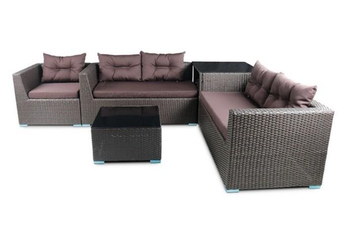 Модульный комплект мебели из искусственного ротанга Трансформер S80Плетеная мебель из искусственного ротанга<br><br><br>Артикул: S80<br>Материалы: Искусственный ротанг, стекло закаленное - 5 мм (тонированное, черное)<br>Каркас: Сталь<br>Полный размер: 2 дивана: 144x80 В68, кресло угловое: 80x80 В68, стол-тумба: 80x80 В68, стол-пуф: 64x64 В36<br>Цвет: Brown<br>Изготовление и доставка: 2-3 дня<br>Условия доставки: Бесплатная по Москве до подъезда<br>Условие оплаты: Оплата наличными при получении товара<br>Производство: Китай<br>Производитель: Афина Мебель