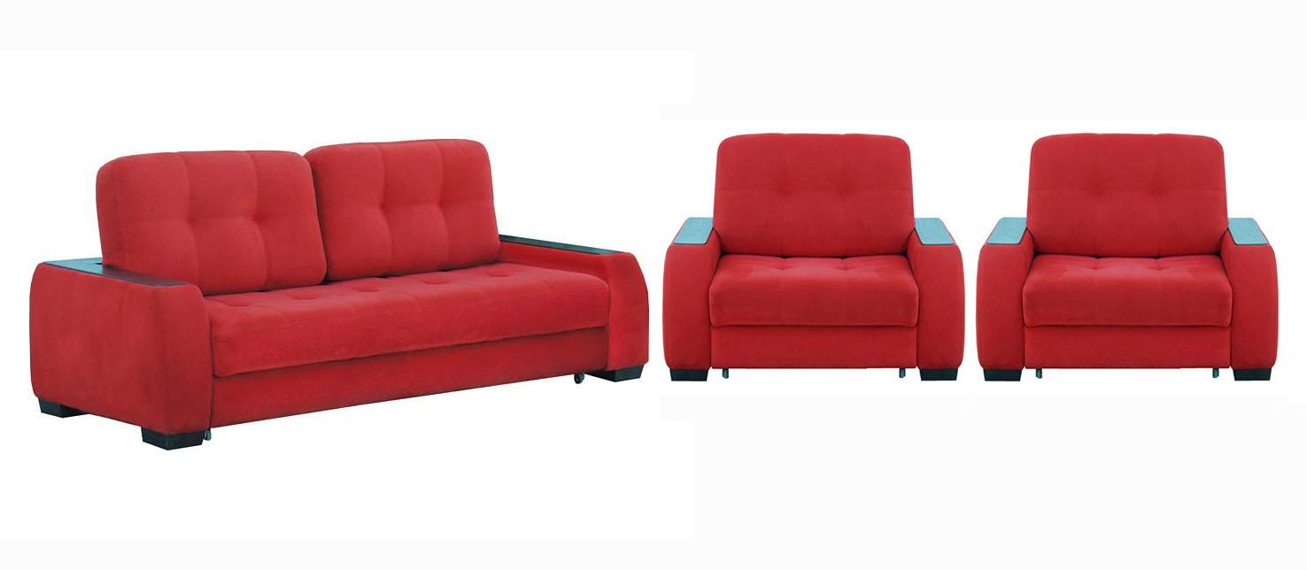 Комплект мягкой мебели Сан-ремоКомплекты мягкой мебели<br>Размер: диван: 200х115 В115 (сп. м. 150х195), кресло: 110х115 В115 (сп. м. 72х192)<br><br>Механизм: Выкатной<br>Материалы: Массив сосны, фанера<br>Каркас: Деревянный<br>Полный размер (ДхГхВ): 200х115х115<br>Спальное место: 150х195<br>Размер кресла: 110х115х115<br>Спальное место кресла: 72х192<br>Наполнитель: ППУ высокой плотности (Пенополиуретан)<br>Примечание: Стоимость указана по минимальной категории ткани. Мебель может быть изготовлена в двух исполнениях: СТАНДАТ и ЛЮКС<br>Изготовление и доставка: 5-14 рабочих дней, в зависимости от обивки<br>Условия доставки: Бесплатная по Москве до подъезда<br>Условие оплаты: Оплата наличными при получении товара<br>Доставка по МО (за пределами МКАД): 40 руб./км<br>Доставка в пределах ТТК: Доставка в центр Москвы осуществляется ночью, с 22.00 до 6.00 утра<br>Подъем на грузовом лифте: 1400 руб.<br>Подъем без лифта: На первый этаж 1000 руб., выше 750 руб./этаж<br>Сборка: 800 руб.<br>Гарантия: 12 месяцев<br>Производство: Россия<br>Производитель: Фиеста