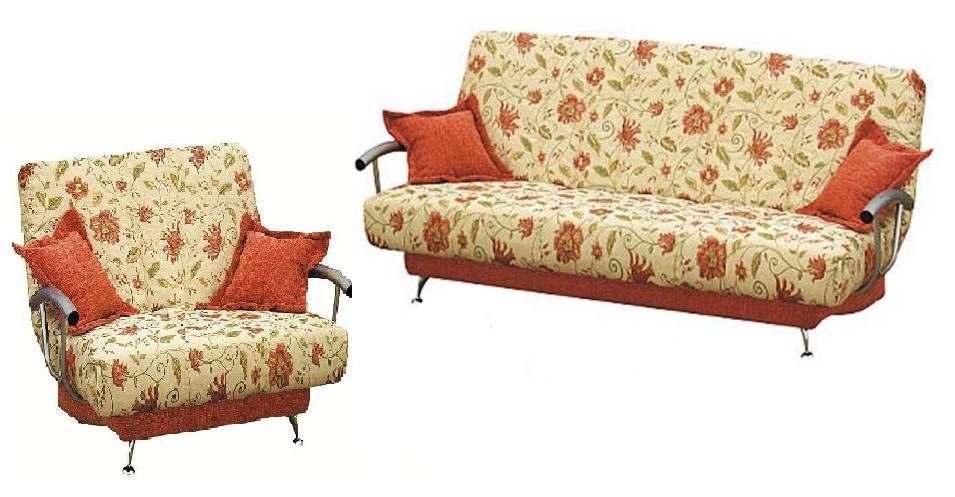 Комплект мягкой мебели СемейныйКомплекты мягкой мебели<br>Размер: диван: 220х117 В97 (сп. м. 140х210), кресло: 107х117 В97<br><br>Механизм: Клик-кляк<br>Материалы: Массив сосны, фанера<br>Каркас: Металлический<br>Полный размер: 220х117 В97<br>Спальное место: 140х210<br>Размер кресла: 107х117 В97<br>Наполнитель: ППУ высокой плотности (Пенополиуретан)<br>Комплектация: Ящик для белья, декоративные подушки<br>Изготовление и доставка: 14-16 дней<br>Условия доставки: Бесплатная по Москве до подъезда<br>Условие оплаты: Оплата наличными при получении товара<br>Подъем на грузовом лифте: 1750 руб.<br>Сборка: 600 руб.<br>Гарантия: 12 месяцев<br>Производство: Россия