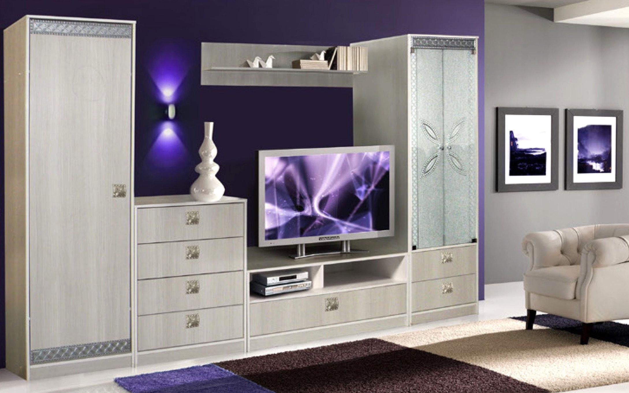 Набор мебели БагираСтенки<br>Комплектация:<br>Шкаф с витриной 0407.1<br>Тумба под ТВ 0407.2<br>Шкаф 1Д 0407.4<br>Комод 0407.3<br>Полка 0407.5<br><br>Материалы: ЛДСП<br>Полный размер (ДхВхГ): 3120х1950х570<br>Ниша под ТВ: 1200х1350<br>Комплектация: Радиусные ручки<br>Цвет: Тополь<br>Примечание: Доставляется в разобранном виде<br>Изготовление и доставка: 15-25 дней<br>Условия доставки: Бесплатная по Москве до подъезда<br>Условие оплаты: Оплата наличными при получении товара<br>Доставка по МО (за пределами МКАД): 35 руб./км., за пределы трассы А-107 (ММК) +500 руб.<br>Подъем на грузовом лифте: 3% от стоимости изделия<br>Подъем без лифта: 1,5% от стоимости изделия за 1 этаж<br>Сборка: 10% от стоимости изделия, до 30 км (за исключением близлежащих районов Москвы - Южное Бутово, Митино и т.п.) + 500 руб. дополнительно к стоимости сборки<br>Гарантия: 18 месяцев<br>Производство: Беларусь<br>Производитель: КМК