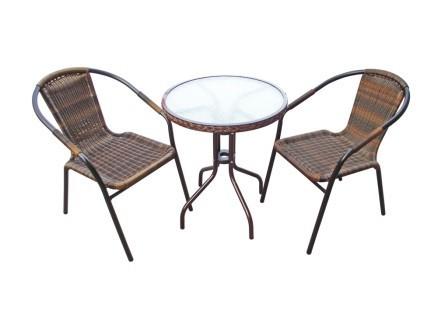 Комплект мебели для дачи Асоль-1ВПлетеная мебель из искусственного ротанга<br>Размер: Стол D60 В70; Стул 57x54 В74<br><br>Артикул: TLH-037B/087B<br>Материалы: Искусственный ротанг, стекло закаленное 5 мм<br>Каркас: Стол: Труба - сталь D25 с полимерным покрытием; Стул: Труба - сталь D25<br>Полный размер: Стол D60 В70; Стул 57x54 В74<br>Комплектация: Стол круглый, 2 стула<br>Цвет: Орех<br>Изготовление и доставка: 2-3 дня<br>Условия доставки: Бесплатная по Москве до подъезда<br>Условие оплаты: Оплата наличными при получении товара<br>Производитель: Афина Мебель