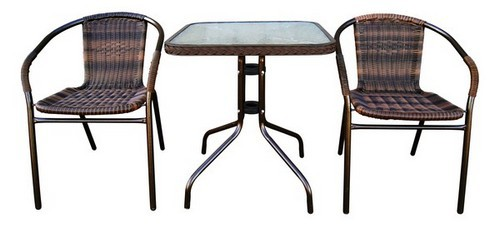 Комплект мебели для дачи Асоль-2BПлетеная мебель из искусственного ротанга<br>Размер: Стол: 60x60 В70; Стул 57x54 В74<br><br>Артикул: TLH-037В/073В-60<br>Материалы: Искусственный ротанг, стекло закаленное 5 мм<br>Каркас: Стол: Труба - сталь D25 с полимерным покрытием; Стул: Труба - сталь D25<br>Полный размер: Стол: 60x60 В70; Стул 57x54 В74<br>Комплектация: Стол квадратный, 2 стула<br>Цвет: Орех<br>Изготовление и доставка: 2-3 дня<br>Условия доставки: Бесплатная по Москве до подъезда<br>Условие оплаты: Оплата наличными при получении товара<br>Производитель: Афина Мебель