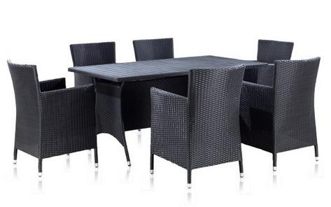 Комплект мебели из искусственного ротанга T-254 Y-189АПлетеная мебель из искусственного ротанга<br>размер: Стол: 160х90 В75; Кресло: 60х62 В87<br><br>Артикул: T-254 Y-189А BLACK<br>Материалы: Искусственный ротанг<br>Каркас: Сталь<br>Полный размер: Стол: 160х90 В75; Кресло: 60х62 В87<br>Комплектация: 1 стол, 6 кресел, подушки для кресел<br>Примечание: Древесно-полимерный композит<br>Изготовление и доставка: 2-3 дня<br>Условия доставки: Бесплатная по Москве до подъезда<br>Условие оплаты: Оплата наличными при получении товара<br>Производство: Китай<br>Производитель: Афина Мебель