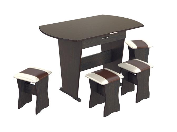 Обеденная группа тип 2Обеденные столы<br>Размер: 750(1200)х600 В740<br><br>Артикул: МФ-101.007<br>Материалы: ЛДСП, кромка ПВХ, искусственная кожа<br>Полный размер: Стол: 750(1200)х600 В740, Табурет 330х330 В430<br>Вес товара (кг): 35<br>Комплектация: Стол + 4 табурета<br>Цвет: Бук, Венге, Ольха<br>Примечание: Доставляется в разобранном виде<br>Изготовление и доставка: Склад до 5 дней, под заказ 2-3 недели<br>Условия доставки: Бесплатная по Москве до подъезда<br>Условие оплаты: Оплата наличными при получении товара<br>Доставка по МО (за пределами МКАД): 35 руб./км. Доставка за МКАД, за пределы трассы А-107 (ММК)<br>Доставка в пределах ТТК: +1000 руб. Доставка в центр Москвы осуществляется ночью, с 22.00 до 7.00 утра<br>Подъем на лифте: 4% от стоимости изделия<br>Подъем без лифта: 2% от стоимости изделия за 1 этаж<br>Сборка: 1000 руб. Выезд сборщика за МКАД+500 руб.<br>Гарантия: 18 месяцев<br>Производство: Россия<br>Производитель: ТриЯ