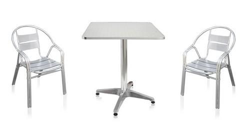 Комплект садовой мебели LFT-3076-T3125-D60Металлическая мебель<br>Размер: Стол 60x60 В70; Подстолье 58; Стул 55x56 В76<br><br>Артикул: LFT-3076-T3125-D60<br>Каркас: Труба - алюминий D24<br>Полный размер: Стол 60x60 В70; Подстолье 58; Стул 55x56 В76<br>Комплектация: Стол квадратный, 2 стула<br>Цвет: Серебристый металик<br>Изготовление и доставка: 2-3 дня<br>Условия доставки: Бесплатная по Москве до подъезда<br>Условие оплаты: Оплата наличными при получении товара<br>Производитель: Афина Мебель