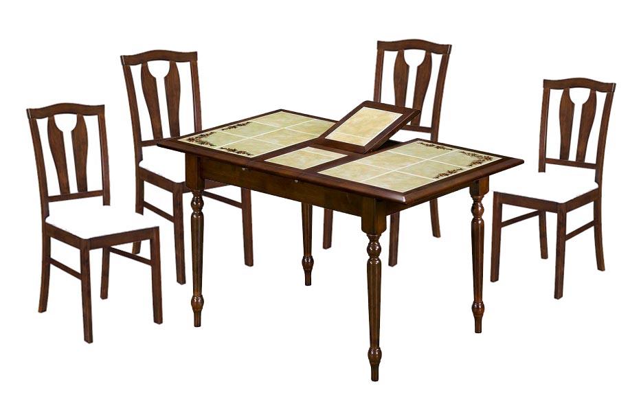 Обеденная группа СТ 2950+СТ 3340Обеденные столы<br>Размер: Стол: 100(130)x73 В75, Стул: 42х52 В94<br><br>Материалы: Массив Гевеи<br>Каркас: Деревянный<br>Полный размер: Стол: 100(130)x73 В75, Стул: 42х52 В94<br>Вес товара (кг): Стол: 36,5, Стул: 6,5<br>Цвет: Стол: темный орех / Стул: темный орех, ткань светло-бежевая 7332<br>Примечание: Столешница выполнена из плиты-декорирована цветочным орнаментом<br>Изготовление и доставка: 2-3 дня<br>Условия доставки: Бесплатная по Москве до подъезда<br>Условие оплаты: Оплата наличными при получении товара<br>Подъем на грузовом лифте: 700 руб.<br>Гарантия: 12 месяцев<br>Производство: Малайзия