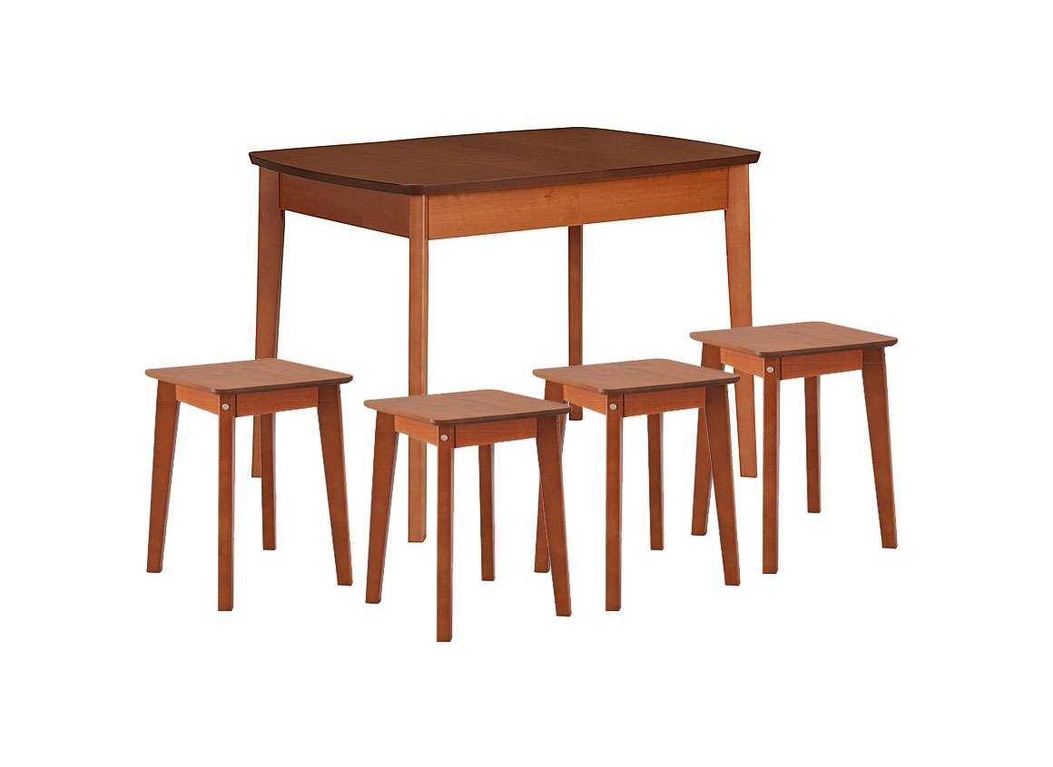 Обеденная группа-11Обеденные столы<br>Стол: 100/130х70х75; табурет: 34х34х47<br><br>Механизм: Раздвижной<br>Материалы: Столешница ЛДСП 22 мм и сидушка ЛДСП, ножки массив березы<br>Полный размер (ДхГхВ): Стол: 100/130х70х75; табурет: 34х34х47<br>Доступны другие размеры: 110/140х75х75, 127/167х80х75<br>Вес товара (кг): 43,48; объем: 0,142 куба<br>Комплектация: Стол Ламино + 4 табурета Ламино<br>Цвет: Вишня, ясень<br>Изготовление и доставка: Склад до 5 дней, изготовление 8-14 дней<br>Условия доставки: Бесплатная по Москве до подъезда<br>Условие оплаты: Оплата наличными при получении товара<br>Доставка по МО (за пределами МКАД): 20 руб./км<br>Подъем на лифте: 2% от стоимости изделия<br>Подъем без лифта: 1,5% от стоимости изделия за этаж<br>Сборка: 10% от стоимости изделия<br>Гарантия: 12 месяцев<br>Производство: Россия<br>Производитель: Боровичи