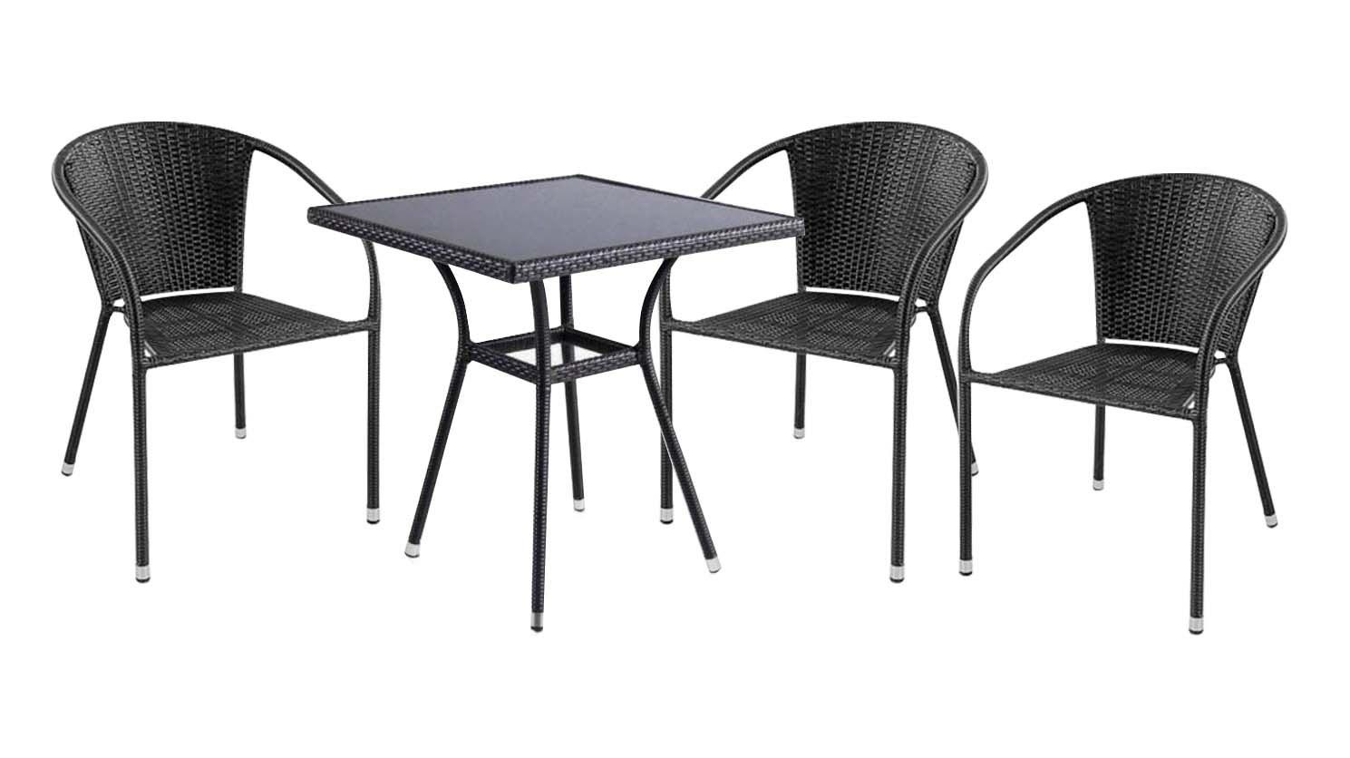Комплект садовой мебели 3+1 T282B Y-137C 3PCSПлетеная мебель из искусственного ротанга<br>Цвет как на дополнительной картинке!<br><br>Артикул: T282B Y-137C 3PCS<br>Материалы: Искусственный ротанг, стекло закаленное - 6 мм<br>Каркас: Сталь<br>Полный размер: Стол: 70х70 В74; Кресло: 58х60 В78<br>Комплектация: 1 стол, 3 кресла<br>Цвет: Dark brown<br>Изготовление и доставка: 2-3 дня<br>Условия доставки: Бесплатная по Москве до подъезда<br>Условие оплаты: Оплата наличными при получении товара<br>Производство: Китай<br>Производитель: Афина Мебель