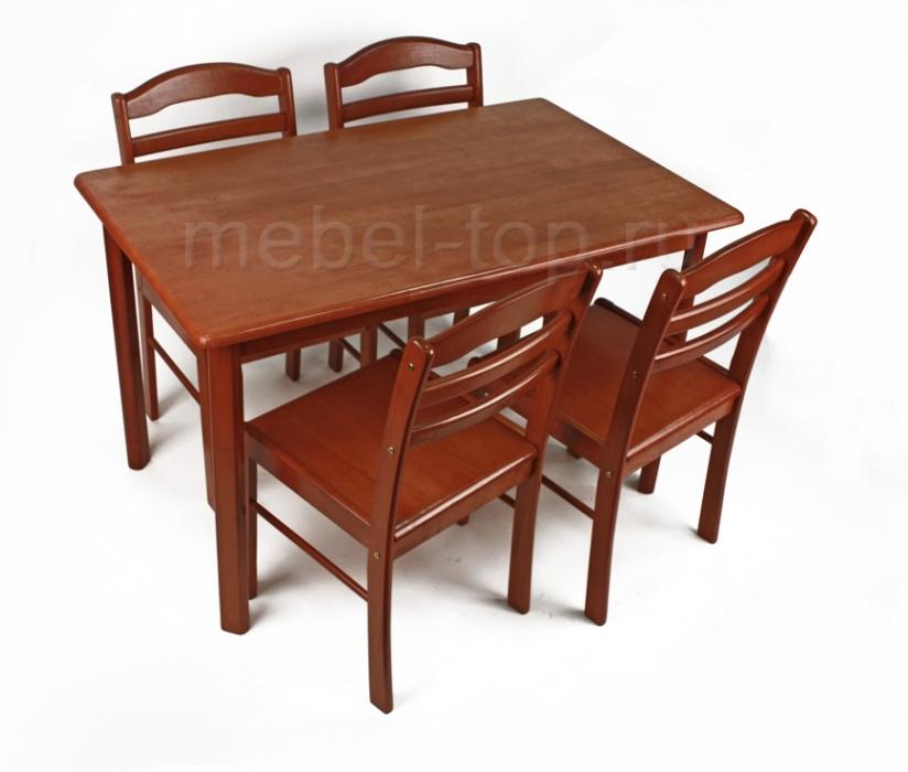 Обеденная группа Кэмл БэкОбеденные столы<br>Стол: 120х75х75<br><br>Артикул: 1040<br>Материалы: Массив Гевеи<br>Полный размер (ДхГхВ): Стол: 120х75х75<br>Комплектация: Стол + 4 стула<br>Цвет: Темный дуб, вишня<br>Изготовление и доставка: 1-3 дня<br>Условия доставки: Бесплатная по Москве до подъезда<br>Условие оплаты: Оплата наличными при получении товара<br>Доставка по МО (за пределами МКАД): 30 руб./км<br>Подъем на грузовом лифте: 700 руб.<br>Производство: Малайзия<br>Производитель: Woodville