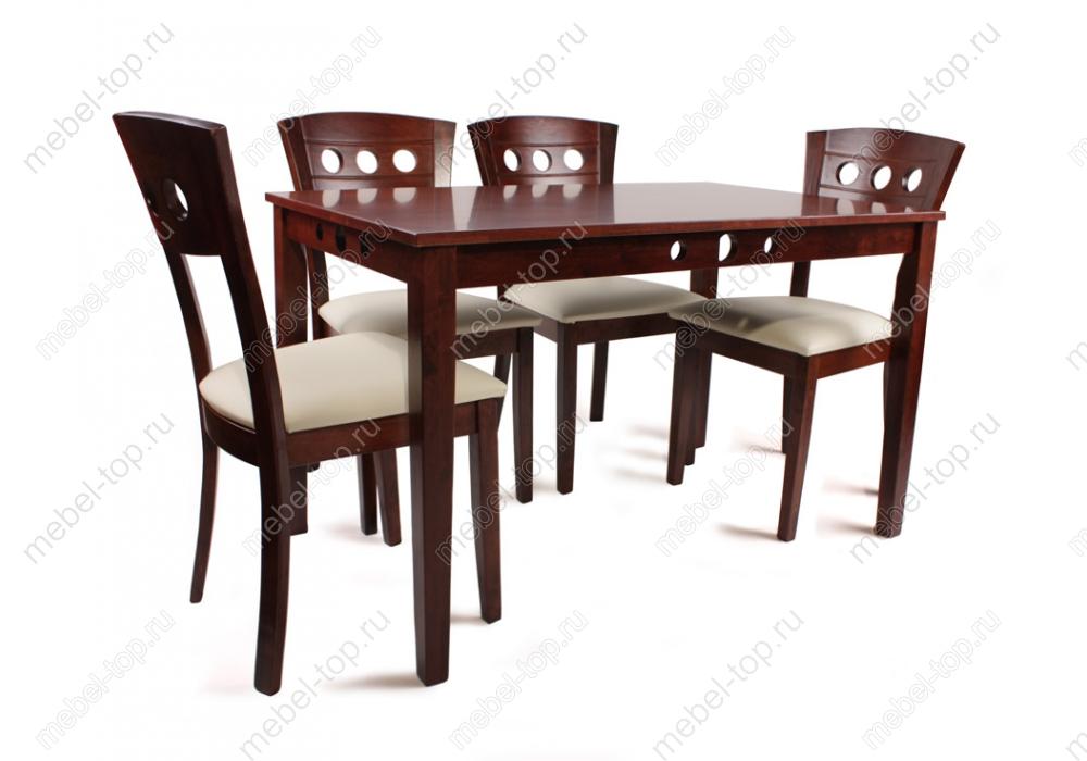 Обеденная группа ЛианаОбеденные столы<br>Размер стола: 120х75х75<br><br>Артикул: 1035<br>Материалы: Массив гевеи, кожзаменитель<br>Полный размер (ДхГхВ): Стол: 120х75х75<br>Комплектация: Стол + 4 стула<br>Цвет: Итальянский орех/ бежевый кожзам<br>Изготовление и доставка: 1-3 дня<br>Условия доставки: Бесплатная по Москве до подъезда<br>Условие оплаты: Оплата наличными при получении товара<br>Доставка по МО (за пределами МКАД): 30 руб./км<br>Подъем на грузовом лифте: 700 руб.<br>Производство: Малайзия<br>Производитель: Woodville